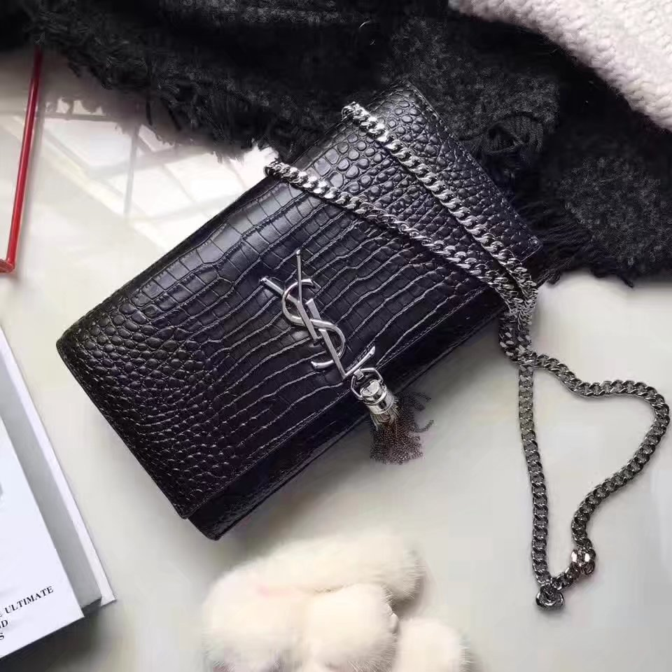 Yves Saint Laurent Medium Kate Monogram Tassel Satchel Crocodile Black Silver