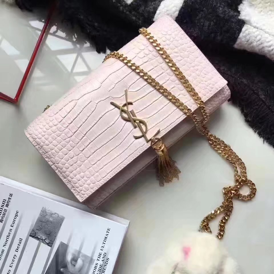 Yves Saint Laurent Medium Kate Monogram Tassel Satchel Crocodile Pink Gold