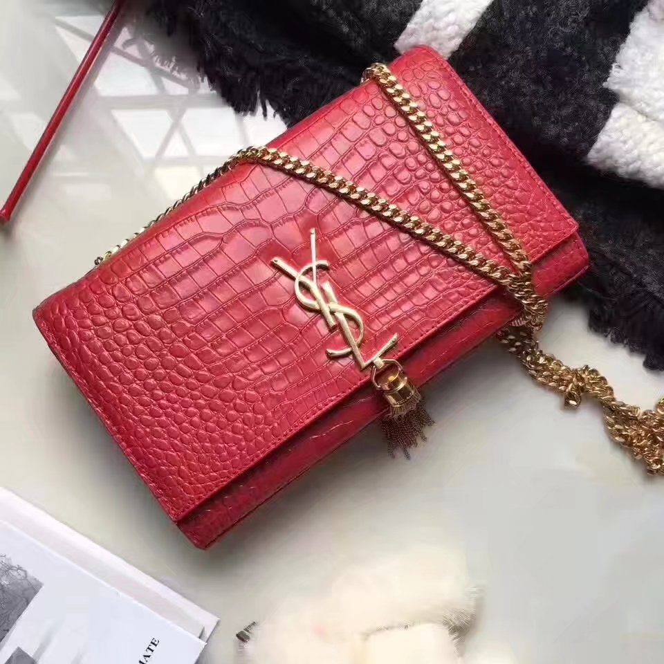 Yves Saint Laurent Medium Kate Monogram Tassel Satchel Crocodile Red
