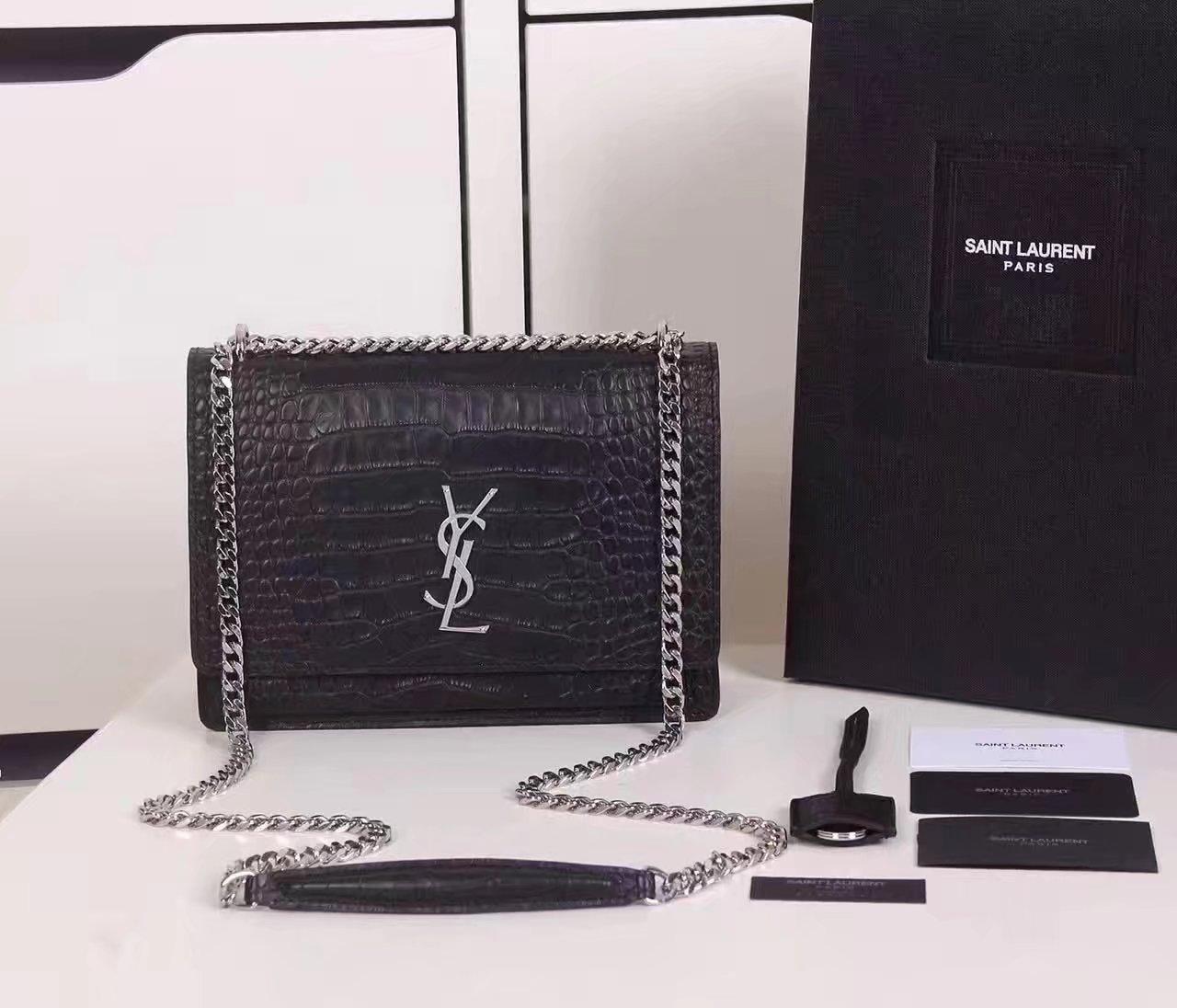 Yves Saint Laurent Medium Sunset Bag In Crocodile Embossed