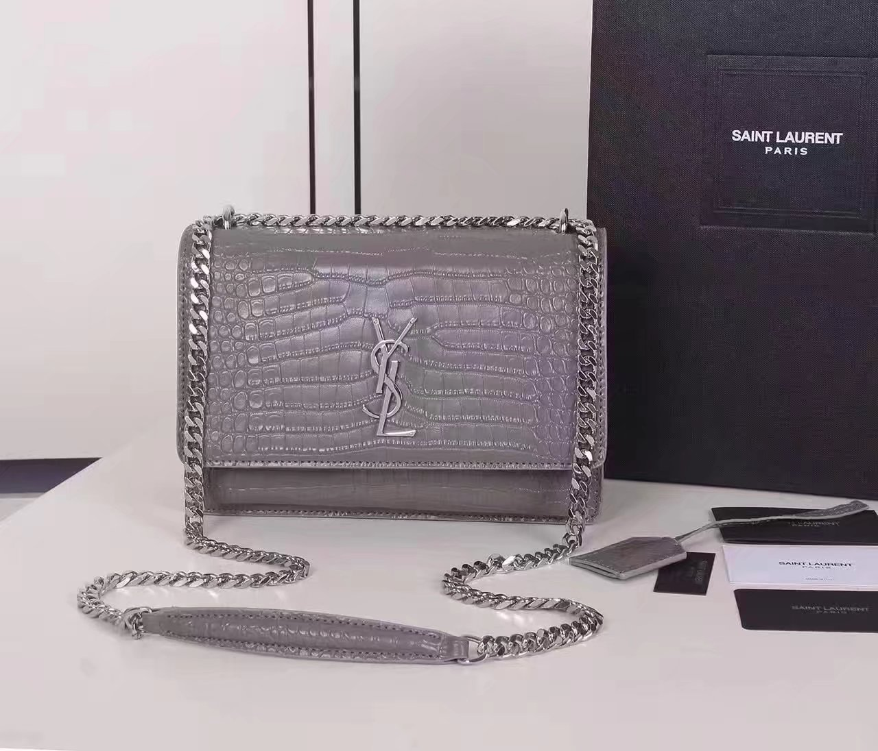 Yves Saint Laurent Medium Sunset Bag In Crocodile Embossed Shiny Leather Grey