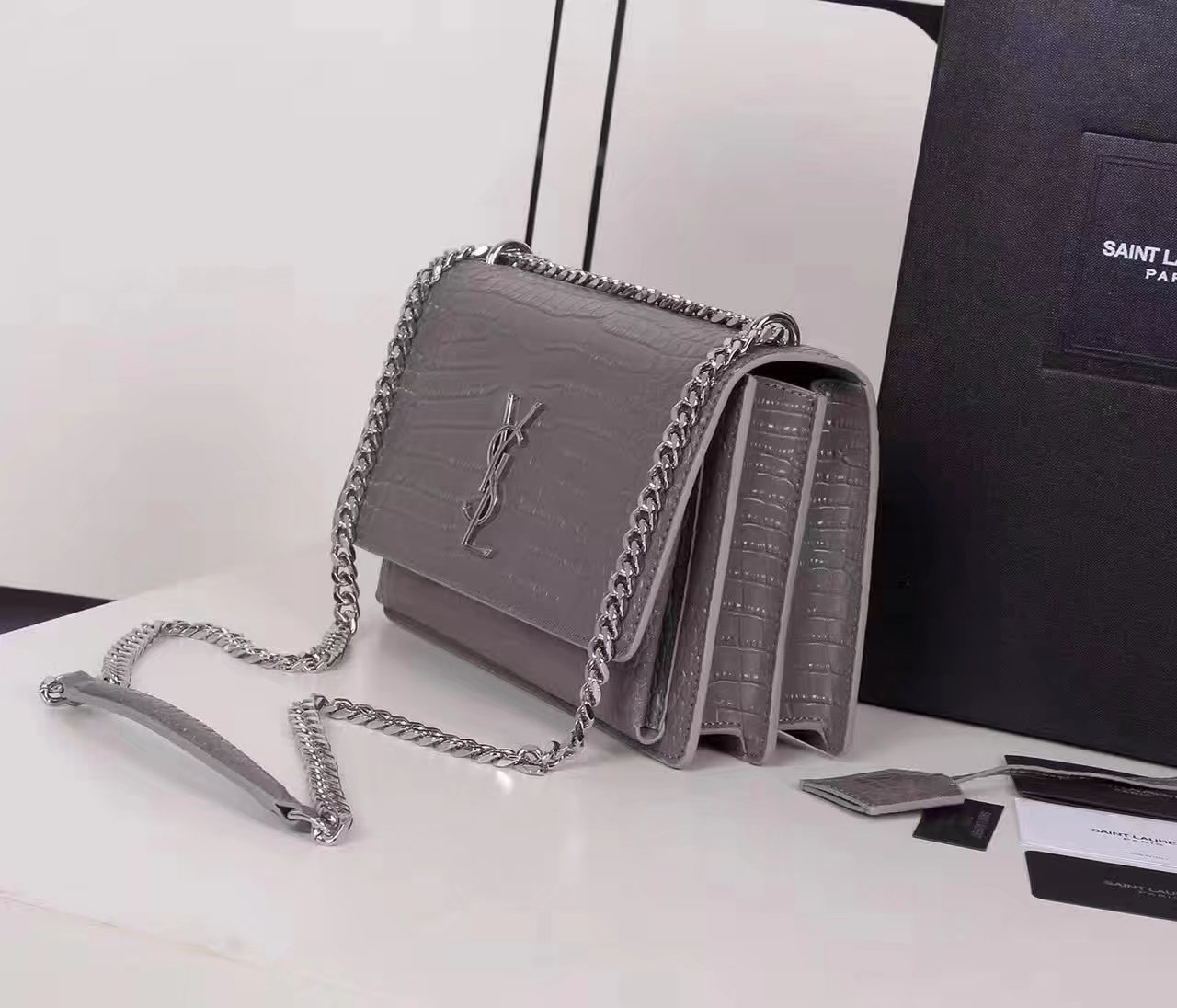 Yves Saint Laurent Medium Sunset Bag In Crocodile Embossed