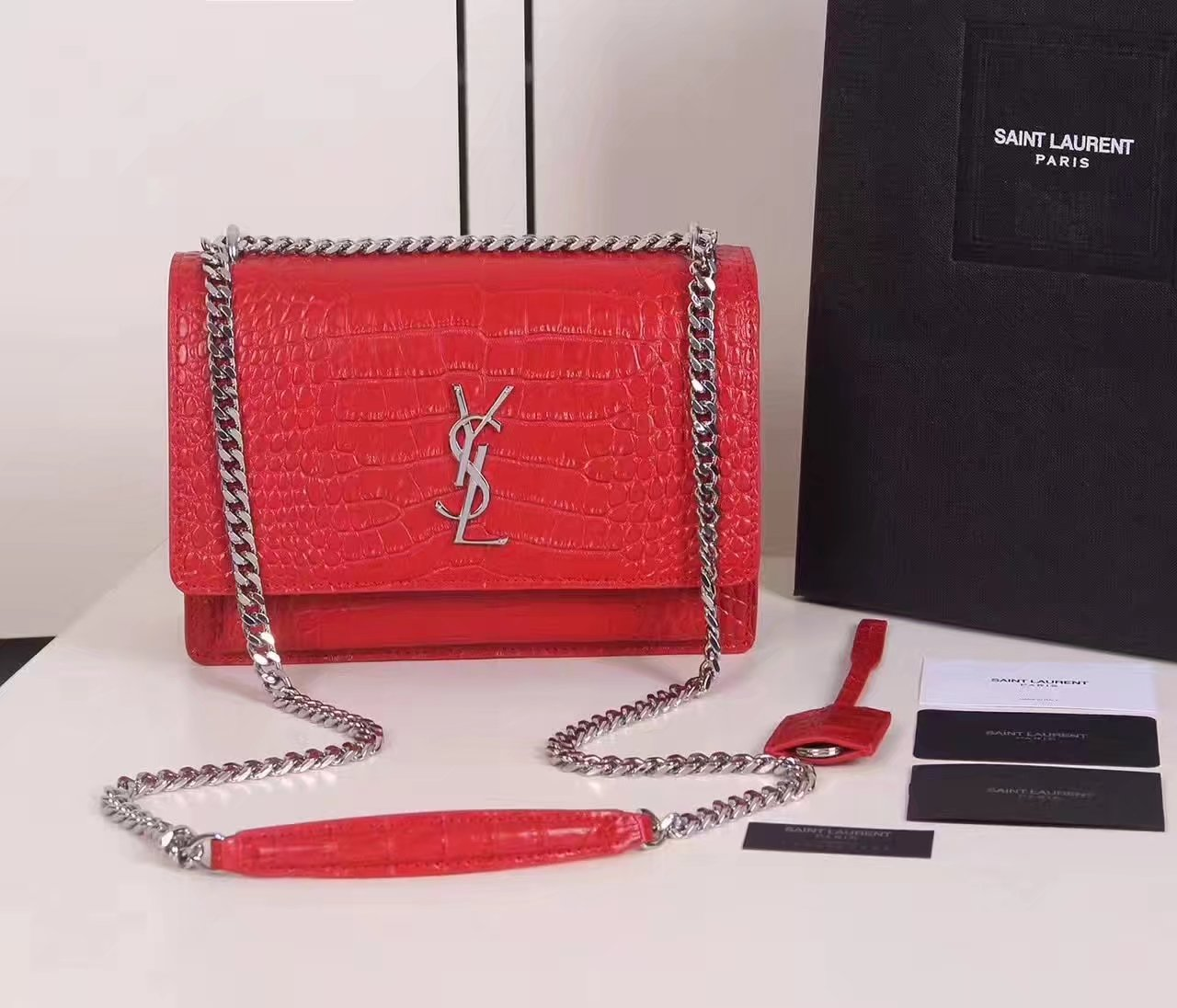 Yves Saint Laurent Medium Sunset Bag In Crocodile Embossed Shiny Leather Red