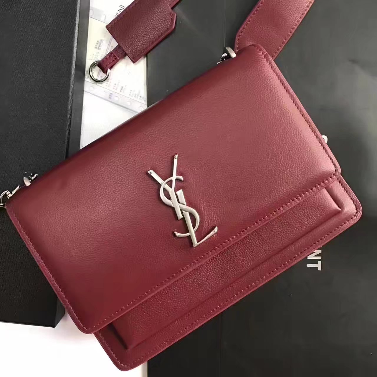 Yves Saint Laurent Sunset Satchel Flap Front Bag In Red Grained Leather