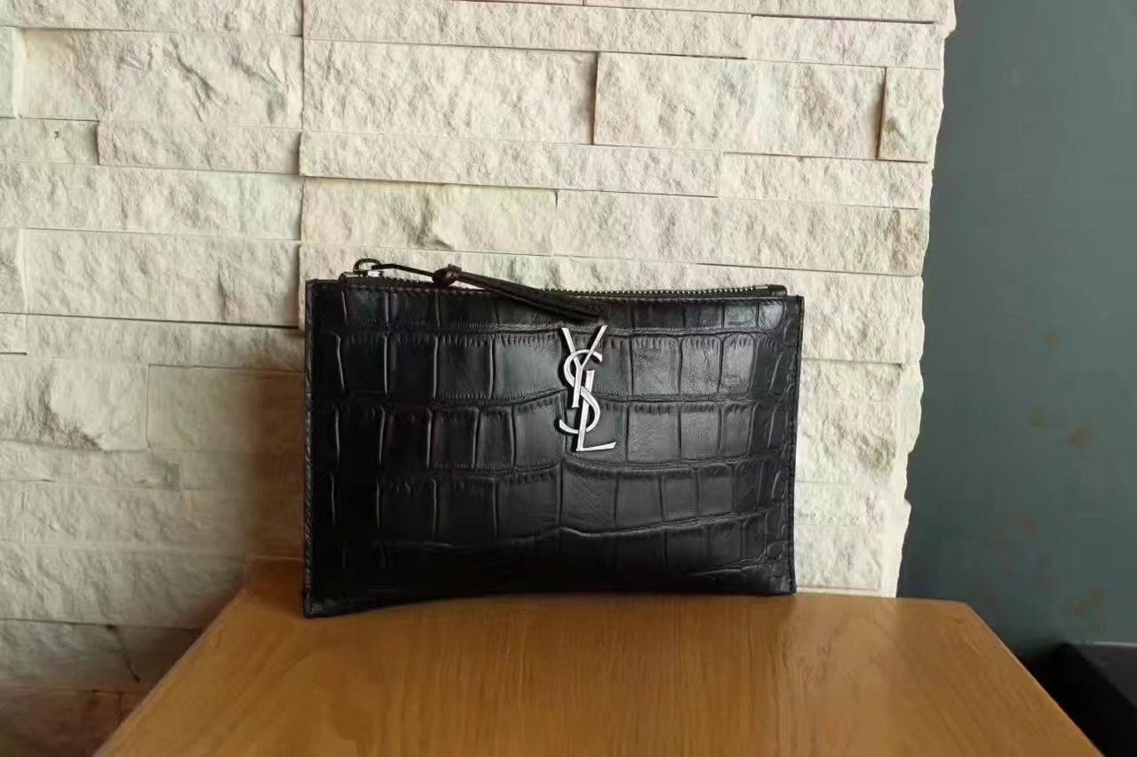 Yves Saint Laurent Women Clutch Bag Black Crocodile Embossed